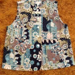 CJ Banks By Christopher Blue/Brown Vest, Size 1X.